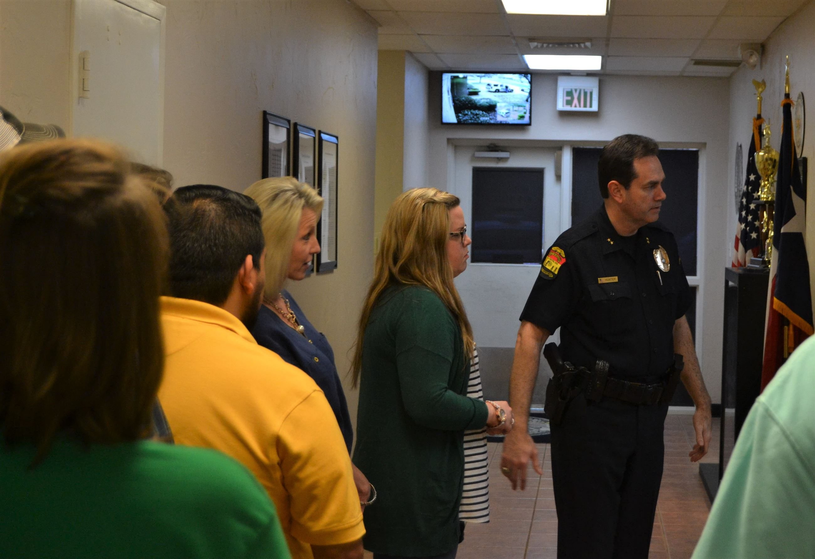 Police Chief giving tour to Citizen Police Academy partcipants