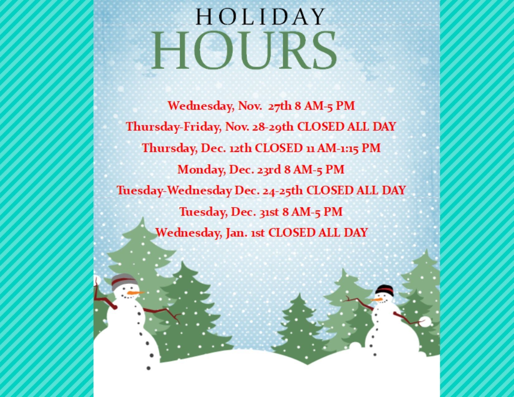 Kilgore Public Library Holiday Hours