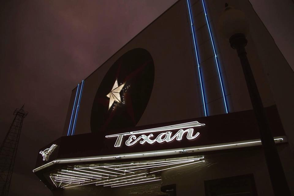 Texan Theater at night