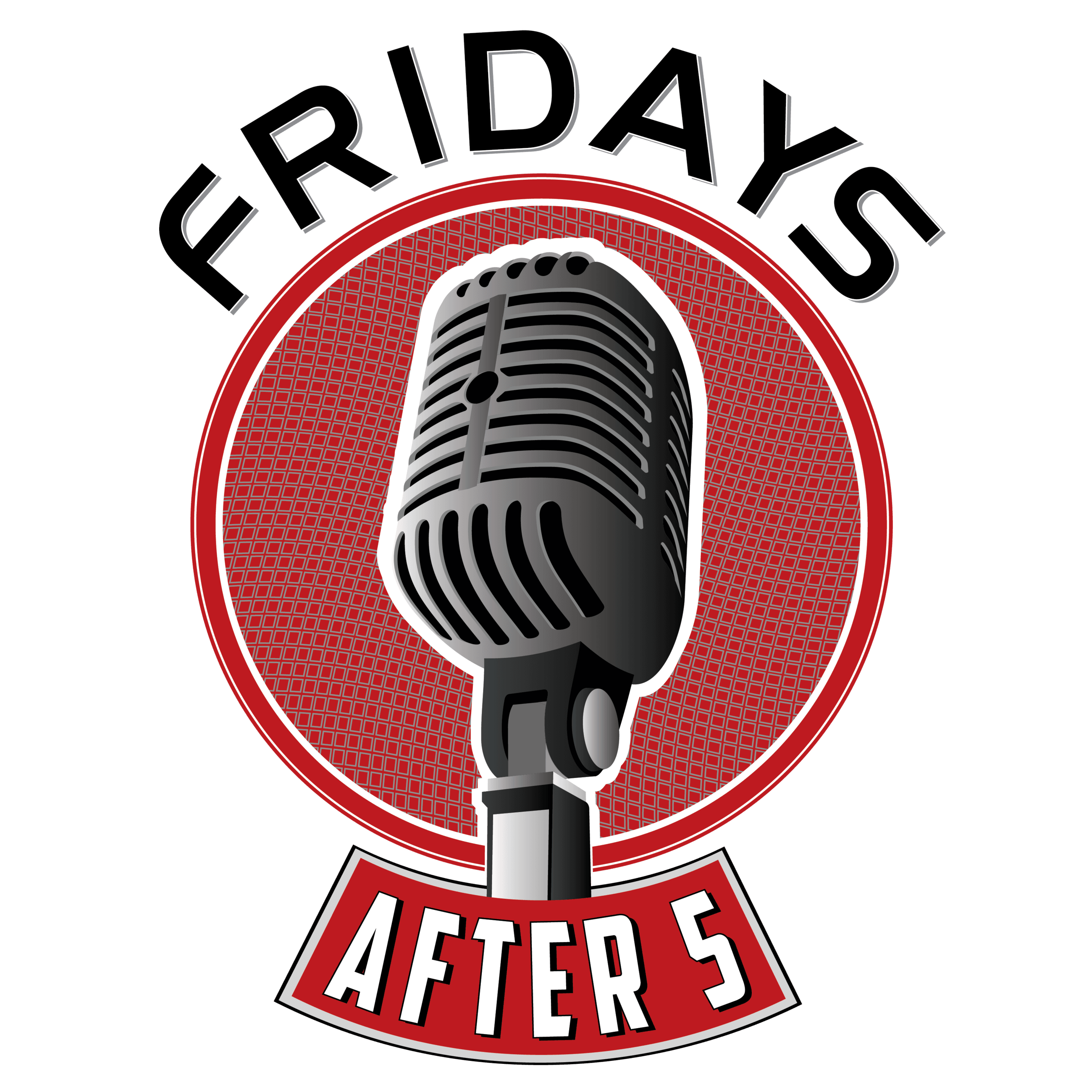 Fridays After 5 Logo with microphone in the middle