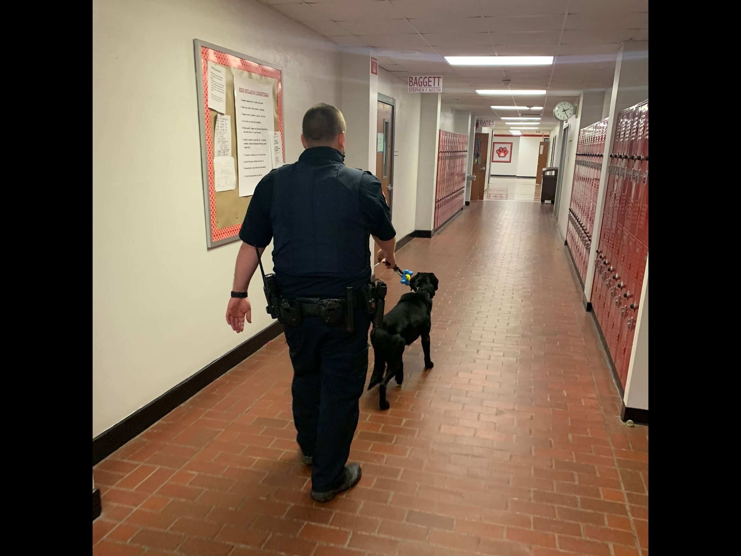 Officer Forbes and K9 Ruger walking down school hallway
