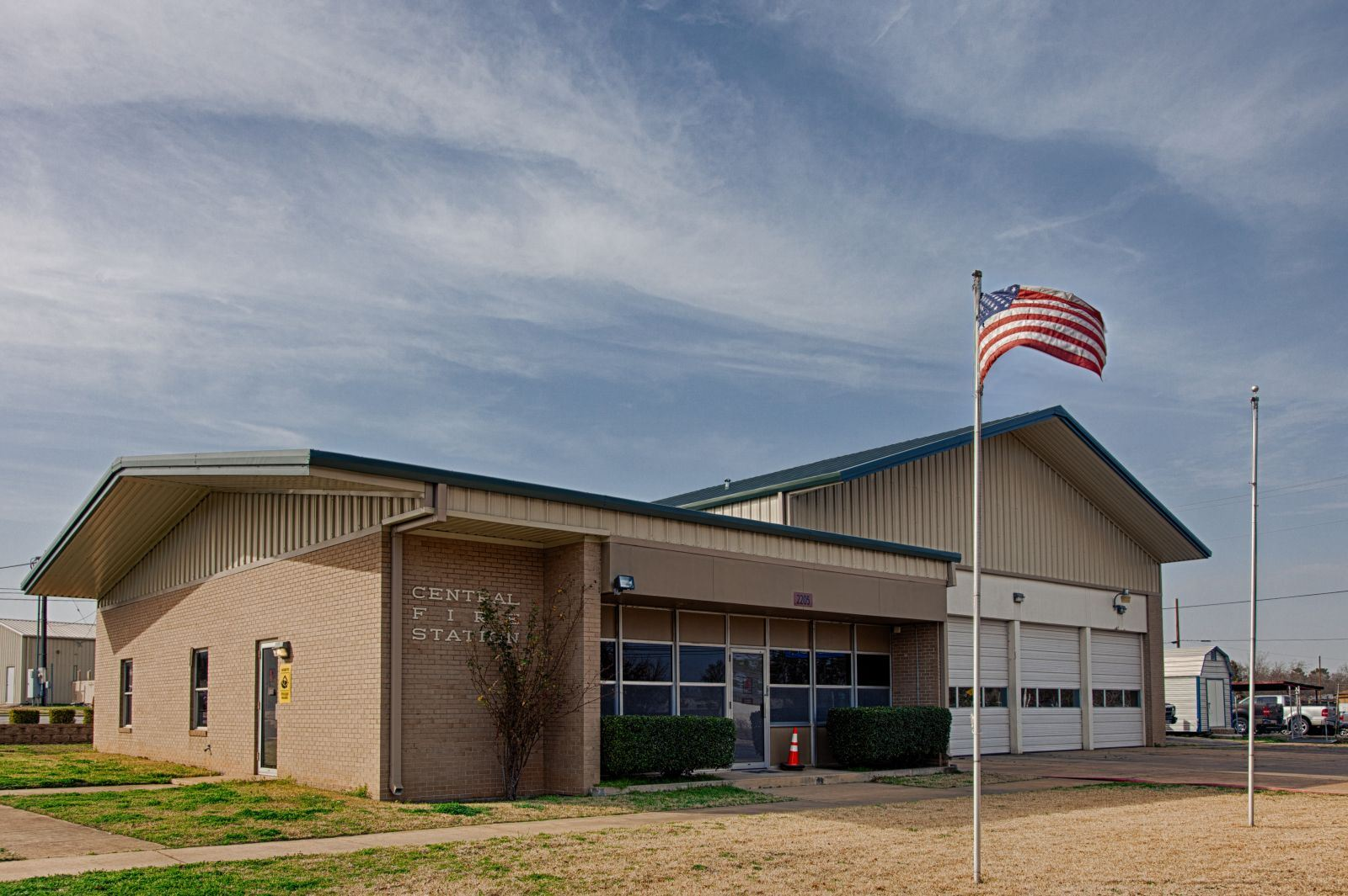 Front View of the Central Fire Station on a Partly Cloudy Day