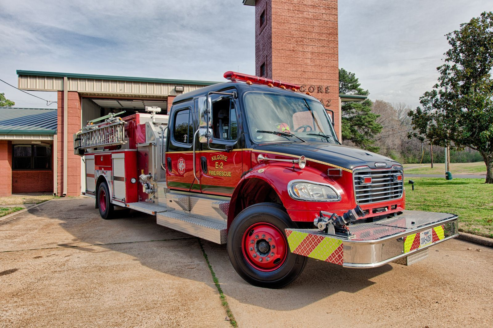 Fire Apparatus Parked in Front of the Fire Station Number 2
